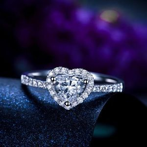 Jewelry - White gold plated heart simulated diamond ring